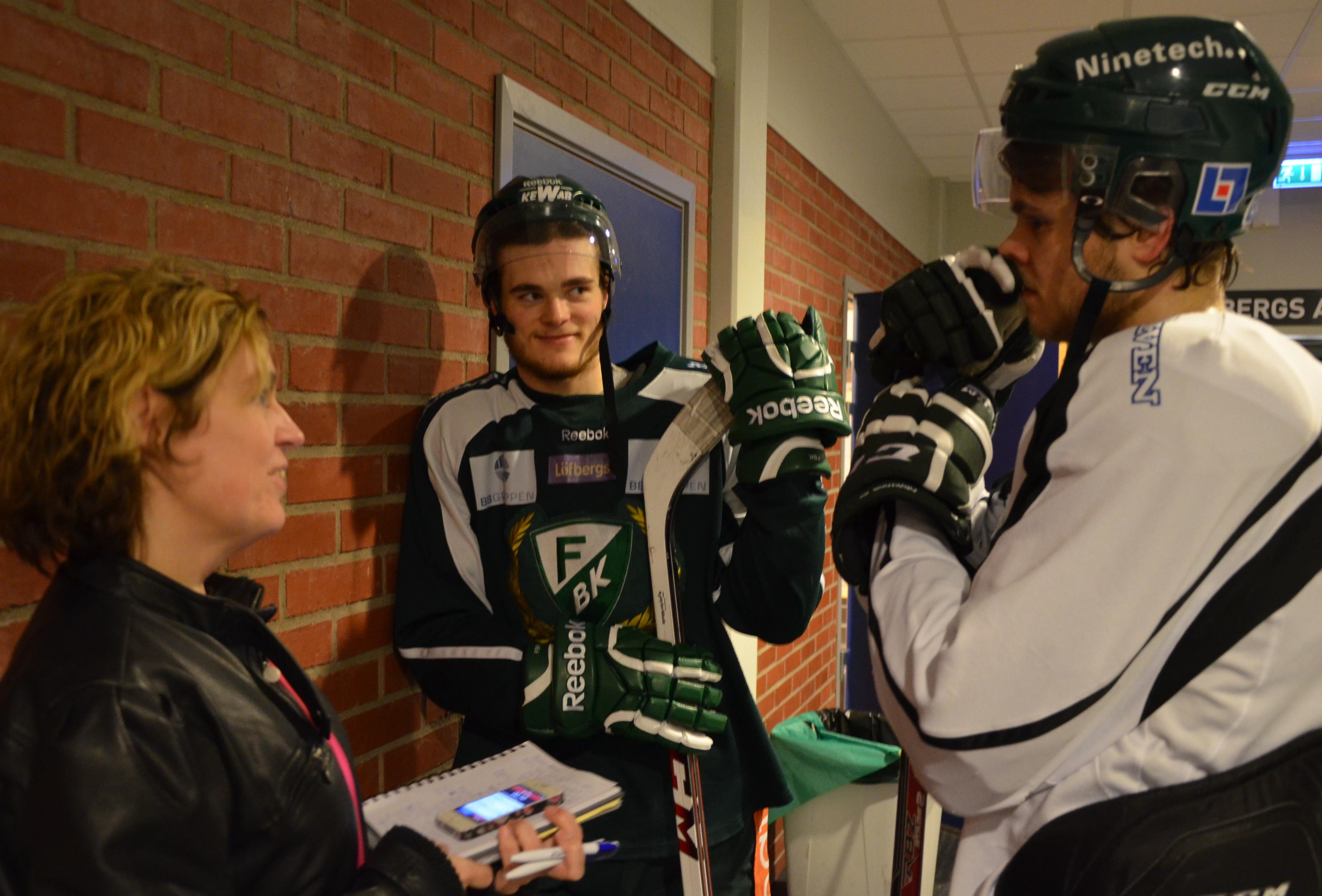 Ludwig Byström och Pontus Åberg var två av spelarna som ni hade frågor till. Foto: Joakim Angle/fbkbloggen