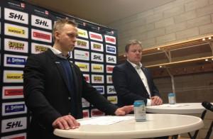 Skellefteås Bert Robertsson och Leif Carlsson ger sin syn på SM-finalmatch 1. Foto: Marie Angle/fbkbloggen