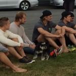 Hillding, Rohdin, Åslund och Arell var några av matchens åskådare. Här ser vi Hillding och Rohdin Foto: Marie Angle