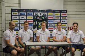 Nyförvärven från vänster: Klepis, Pogge, Jensen, Lalonde och Aquino. Foto: Robin Angle/fbkbloggen