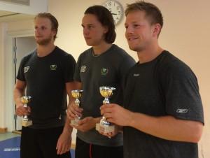 3 x Joakim/Joachim stod som vinnare i lagets interna brottningstävling. Rohdin vann tungviktsklassen, Nygård lättvikt och Hillding mellanvikt. Foto: Marie Angle