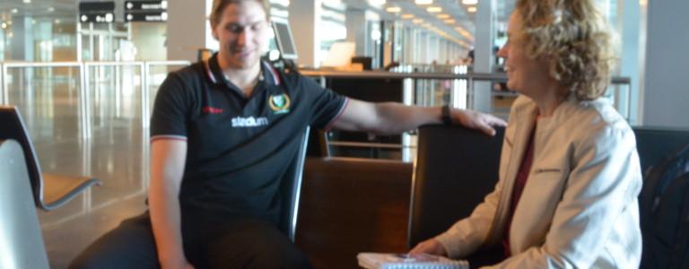 Shawn Lalonde på Zürich flygplats 24/8. Foto: Joakim Angle/fbkbloggen