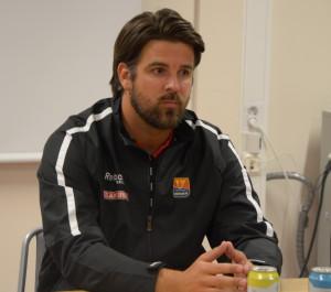 Skövdes tränare Fredrik Ljunggren på presskonferensen efter matchen Foto: Joakim Angle/fbkbloggen