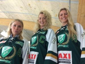 Tilda, Sara och Julia är redo för lördagens hemmapremiär mot Nora 16.00 i Löfbergs Arena. Foto: Marie Angle/fbkbloggen