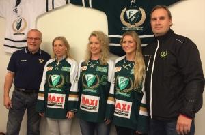 Leif Boork, Tilda Antonsson, Sara Kask, Julia Pettersson och Fredrik Wilhelmsson förevigade under presskonferensen. Foto: Marie Angle/fbkbloggen