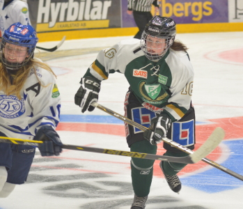 #16 Alexandra Skoog gjorde lagets enda mål i Leksandsmatchen.