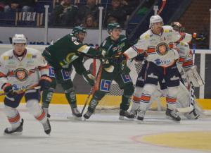"""Det var trångt framför """"Torpet"""" i Växjömålet i kvällens match Foto: Joakim Angle/fbkbloggen"""