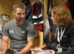 Milan Gulas i omklädningsrummet efter matchen mot Växjö i torsdags när han gjorde lagets enda mål. Foto: Joakim Angle/fbkbloggen