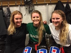 FBK Dams förstafemma med Emma Thomann, Julia Pettersson och Lisa Östman Foto: Marie Angle/fbkbloggen