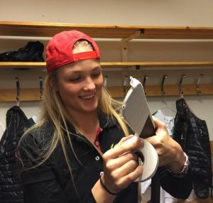 Emma Lindgren passade på att göra sina båda första mål för säsongen Foto: Marie Angle/fbkblogggen