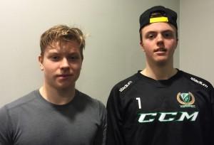 Oskar Steen och Andreas Kåberg - den förstnämnde får beröm av Lundh och den andre har blivit utlånad till Jörgen Jönssons Forshaga för att, under två matcher, förstärka deras Div 1-lag.  Foto: Marie Angle/fbkbloggen