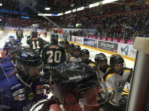I pausen spelade Filipstads och BIK Karlskogas tjejer som ett led i att visa hockeyalliansens flick/damhockeysatsning. Fler bilder längst ned. Foto: Marie Angle/fbkbloggen