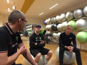 Tommy Samuelsson, Linus Persson och Lars Klinghagen presenterar A-lagets nya försäsongsupplägg. Foto: Marie Angle/fbkbloggen