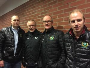 Leif Boork flankerad av Kecke Wilhelmsson, Micke Pettersson och Anton Karlsson vid ett av den gångna säsongens besök i Löfbergs Arena. Foto: Marie Angle/fbkbloggen