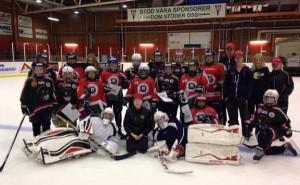 Deltagarna i Girl Power-campen förevigade på isen i Björkhallen Foto: privat