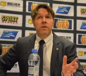 Ante Karlsson på presskonferensen efter matchen Foto: Joakim Angle/fbkbloggen