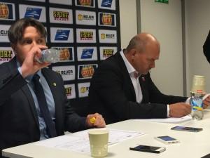 Ante Karlsson och Kent Johansson på presskonferensen efter helgens första back-to-back-möte Foto: Marie Angle/fbkbloggen