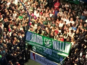 Ståplatsfansens hyllning till Rickard Wallin Foto: Marie Angle/fbkbloggen