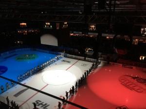 Den franska trikolorens färger prydde Färjestads arena under den  tysta minuten. Ett fint och viktigt initiativ av SHL! Foto: Marie Angle/fkblogggen